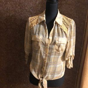 Tops - American Rags Boho Gypsy Tie Front Top
